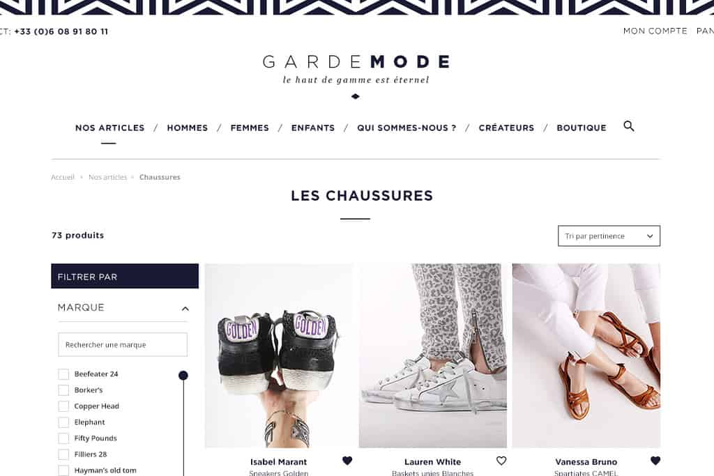Garde mode - page liste